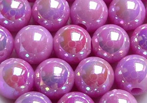 Plastové kuličky duhové 6 mm - růž.-fial. / 10 ks