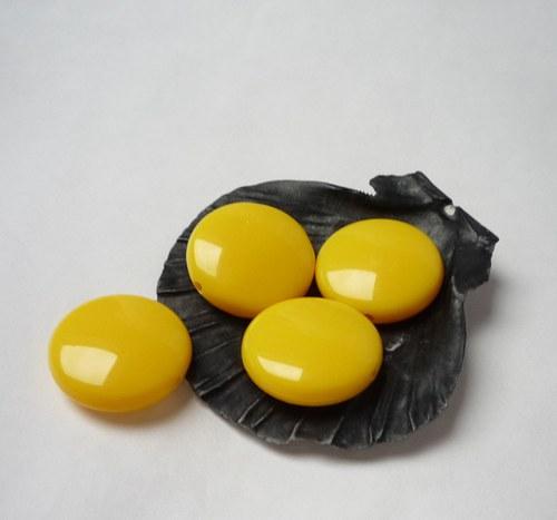 žluté akrylové korálky 10 ks - lentilka