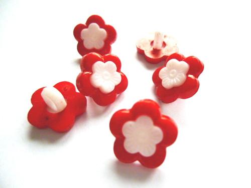 Knoflíčky dvojité kytičky červené 5ks