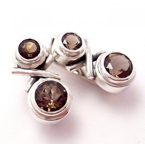 Náušnice «Spolu» - stříbro 925, přírodní záhněda