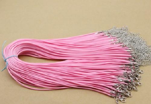 Voskovaná šňůra na krk růžová
