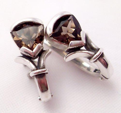 Náušnice «Jaro» - stříbro 925, přírodní záhněda