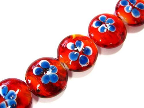0604221/Vinutá čočka červená s modrou květinou