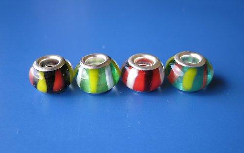 Skleněné korálky 4ks - barevný mixík