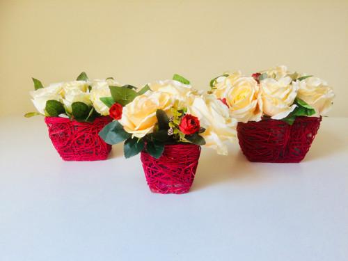 Květinové dekorace - růže - trio