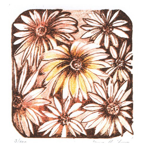 Originál litografie - Náruč květin