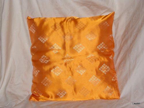 Polštář viskoza oranžový se čtverečky