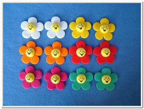 Pěticípé kytky s obličejem mix - 12 kusů - dekorac