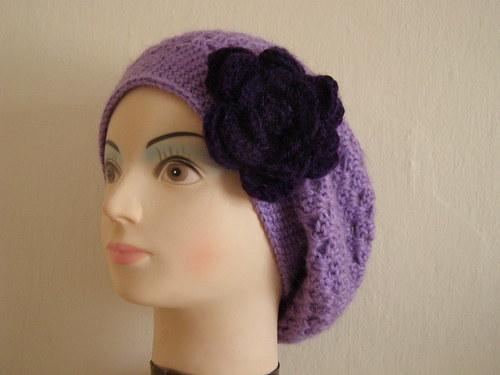 Baskický baret - sv. fialový, mohérový