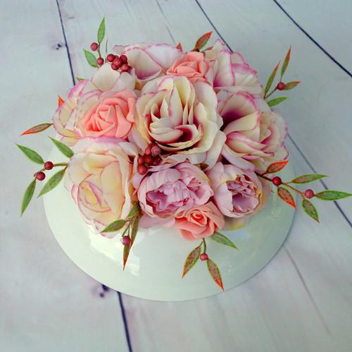 Lososové růže v keramice do sady k věnci Mozart
