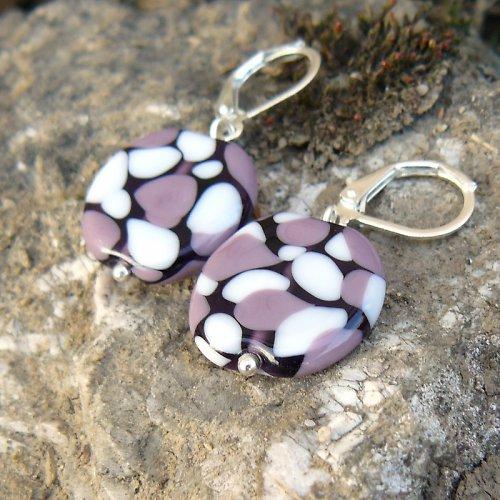 Náušnice - mozaikové placky - fialovo bílé