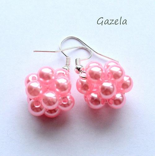 Náušnice Růžové kuličky