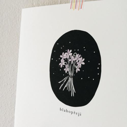 blahopřání ~ blahopřeji s kytičkou fialek ~