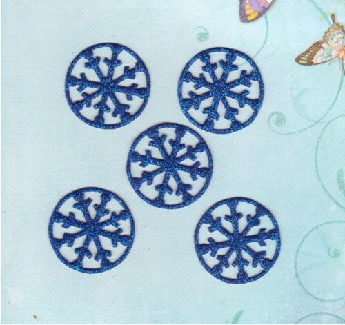 Vločky ze třpytivé pěnovky - tmavě modré (5 ks)