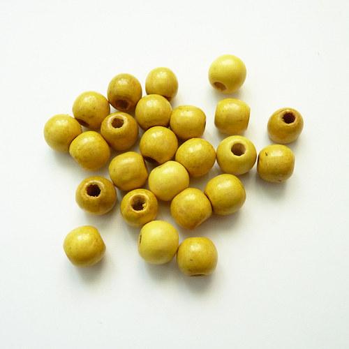 Žluté kuličky - dřevo 24 ks