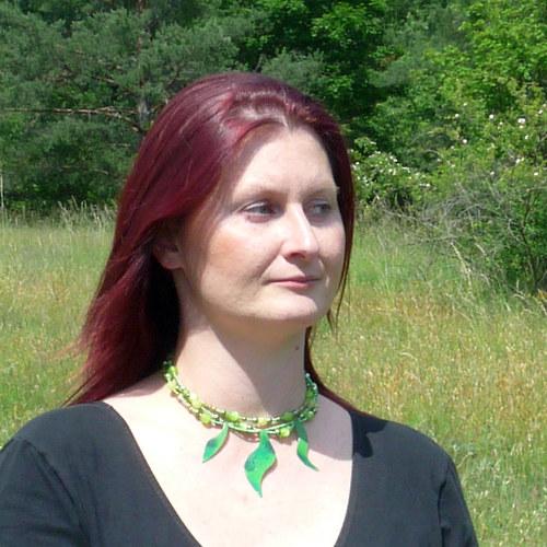 náhrdelník plameňák zelený