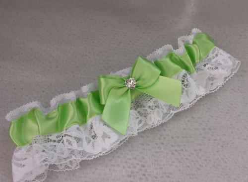 Krajkový zelenkavý SW podvazek - bílá krajka