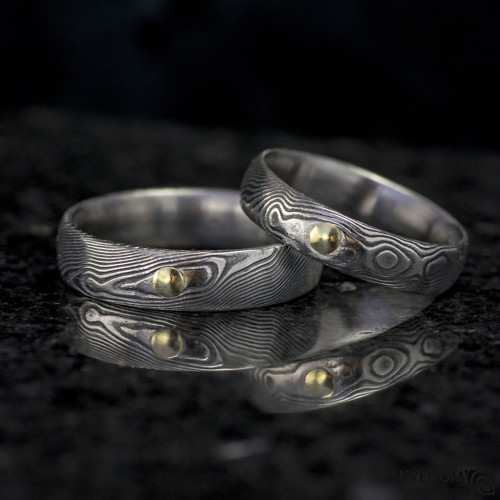 Snubní prsten Damasteel PRIMA + zlatý suk do 3mm