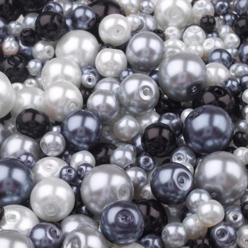 Voskované perly MIX velikostí cca Ø4-12mm - 12 ks