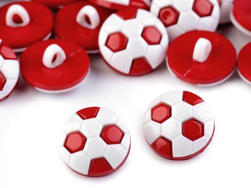 Knoflík míč 15,5mm (10ks) - červená
