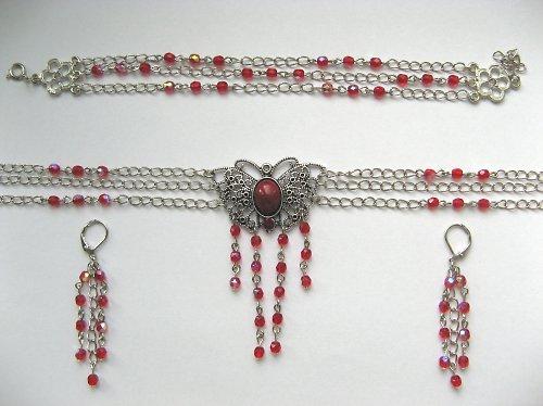 Motýlení - náhrdelník červený