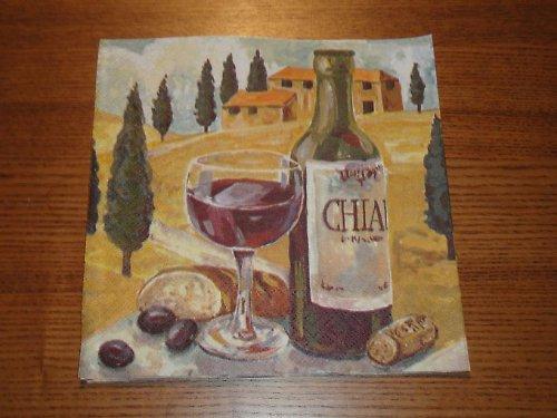 Ubrousek na decoupage - sklenice vína