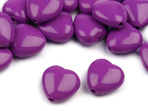 Plastové korálky 13x13mm srdce / fialové (10 ks)