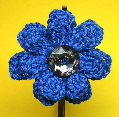 Čelenka modrý květ s kamenem