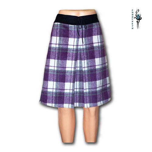 """Vlněná kostičkovaná sukně ,,Purple Cube\"""""""
