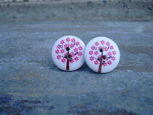 Knoflíkové náušnice - stromky růžové