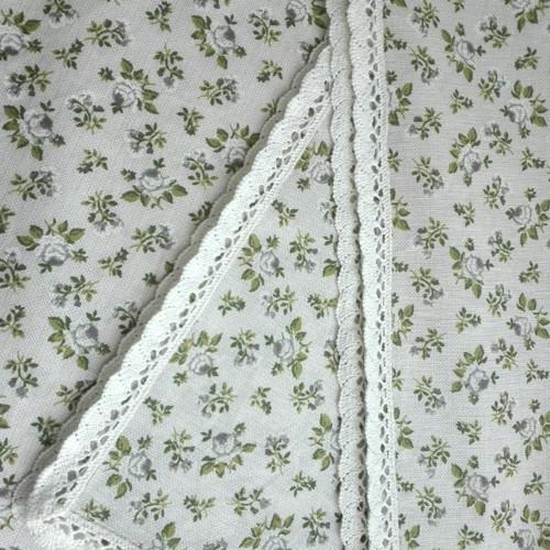 Ubrus Zelené růžičky na režném tisku, lem krajka