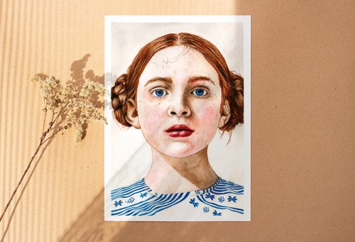 Portrét Sadie Sink - malba, A4