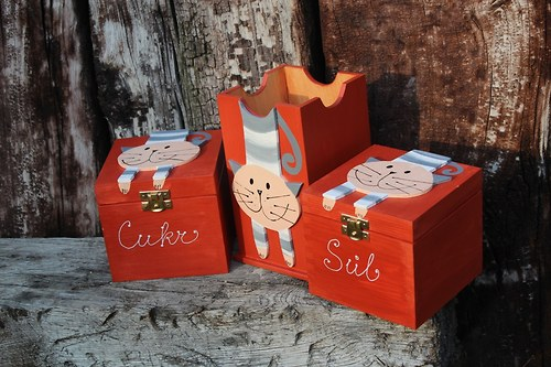 Dřevěná krabička na CUKR A SŮL