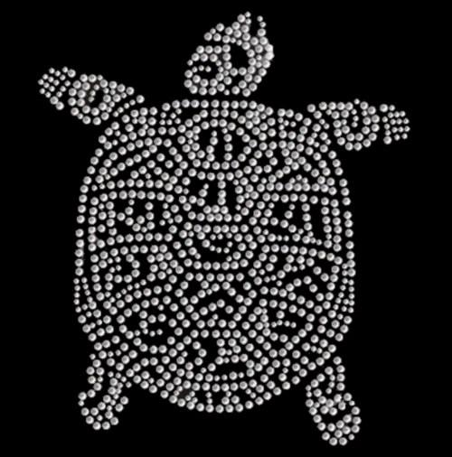 Želva - Štrasový nažehlovací motiv, kamínky
