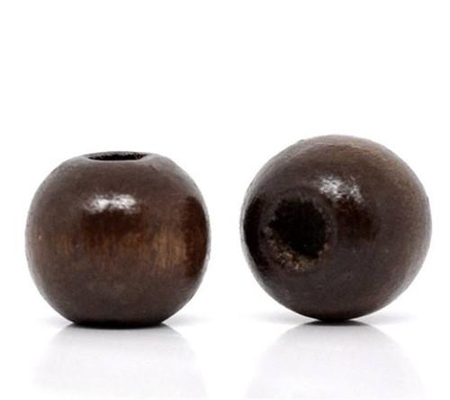 Korálky dřevěné kávové 10 mm - sada 10 ks