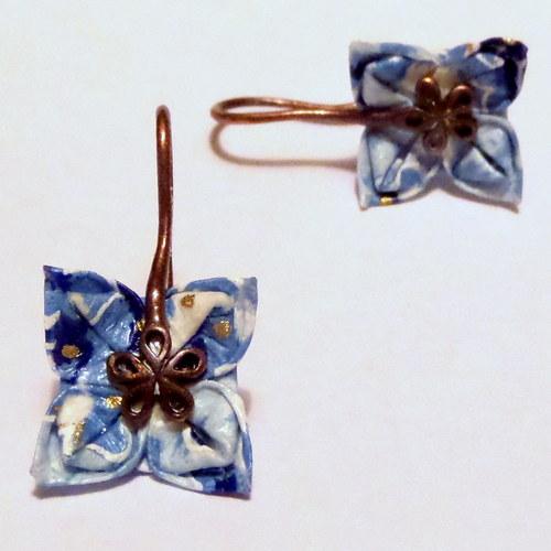 Modřenky -  malé origami náušnice