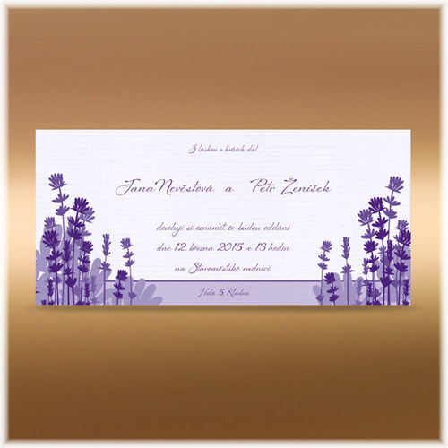 Svatební oznámení levandule obdélník