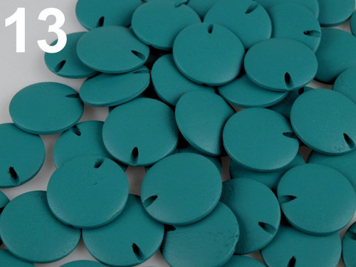 Dřevěné korálky disk Ø25mm (10ks) - tyrkysová
