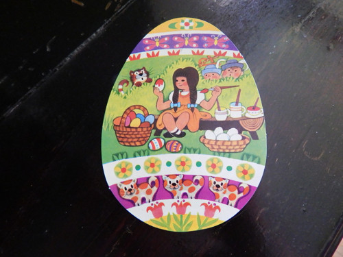 Pohlednice vajíčko - Z.Miler..s děvčátkem
