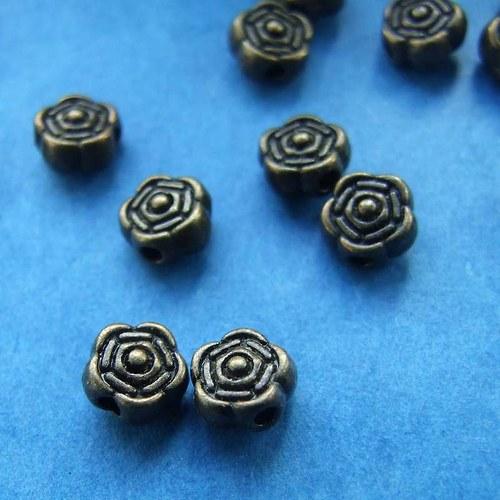 Kovový korálek růžička Ø 6,5mm starobronz 10ks