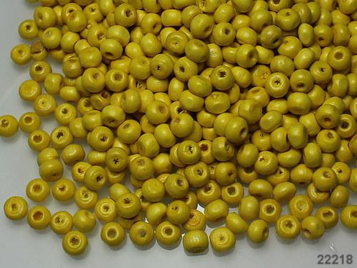 22218-B03 Dřevěné korálky ŽLUTÉ bal.15g ± 240ks