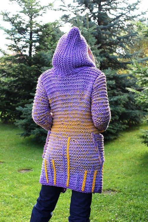 Originální kabát žluto-fialový