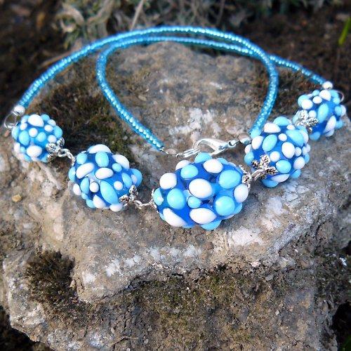 Náhrdelník - modré mozaikové olivy