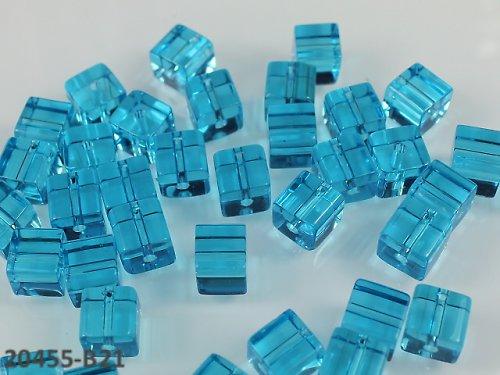 20455-B21 Korálky kostky sklo TRKYS, bal.10ks