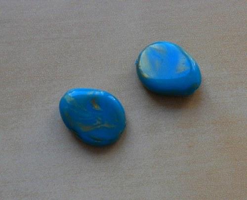 Plastový korálek s perletí - 6 ks