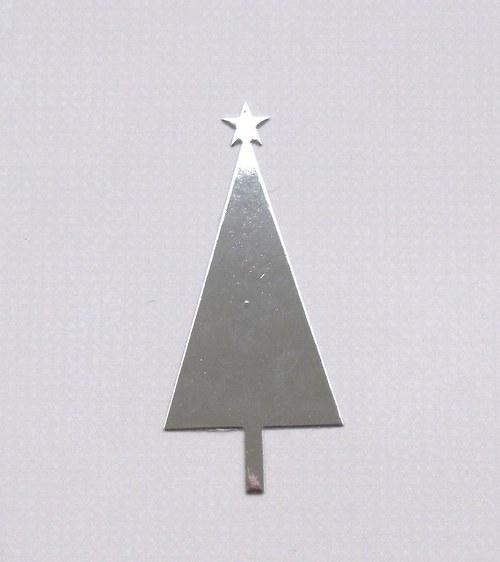 Vánoční stromeček plošný (stříbrný lesklý)