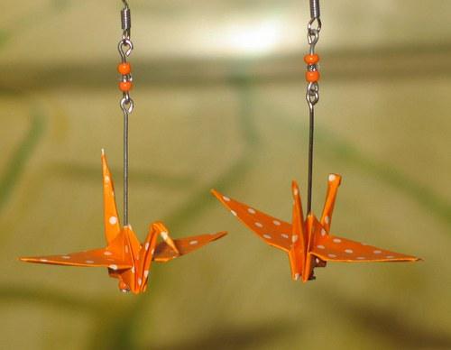 Pomerančoví jeřábi - náušnice