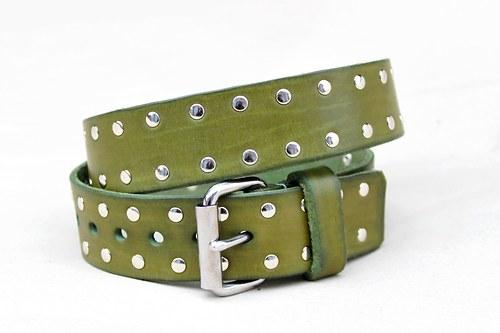 Zelený kožený nýtovaný opasek, ručně šitý