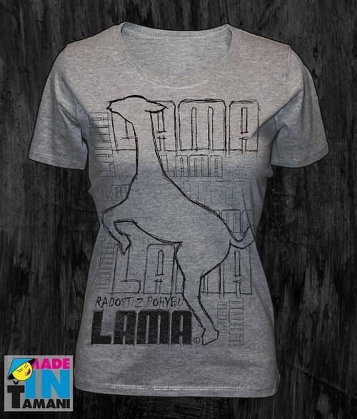 Dámské šedé-melírové tričko s Lamou velký potisk 2