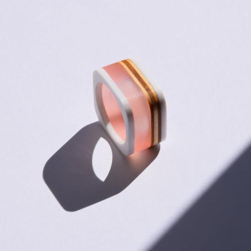 Elegant / prsten / růžová v bílé
